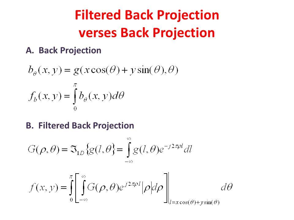 Filtered Back Projection verses Back Projection A. Back Projection B. Filtered Back Projection