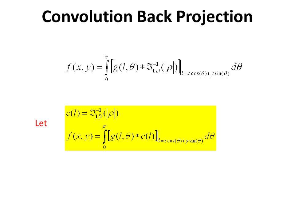 Convolution Back Projection Let