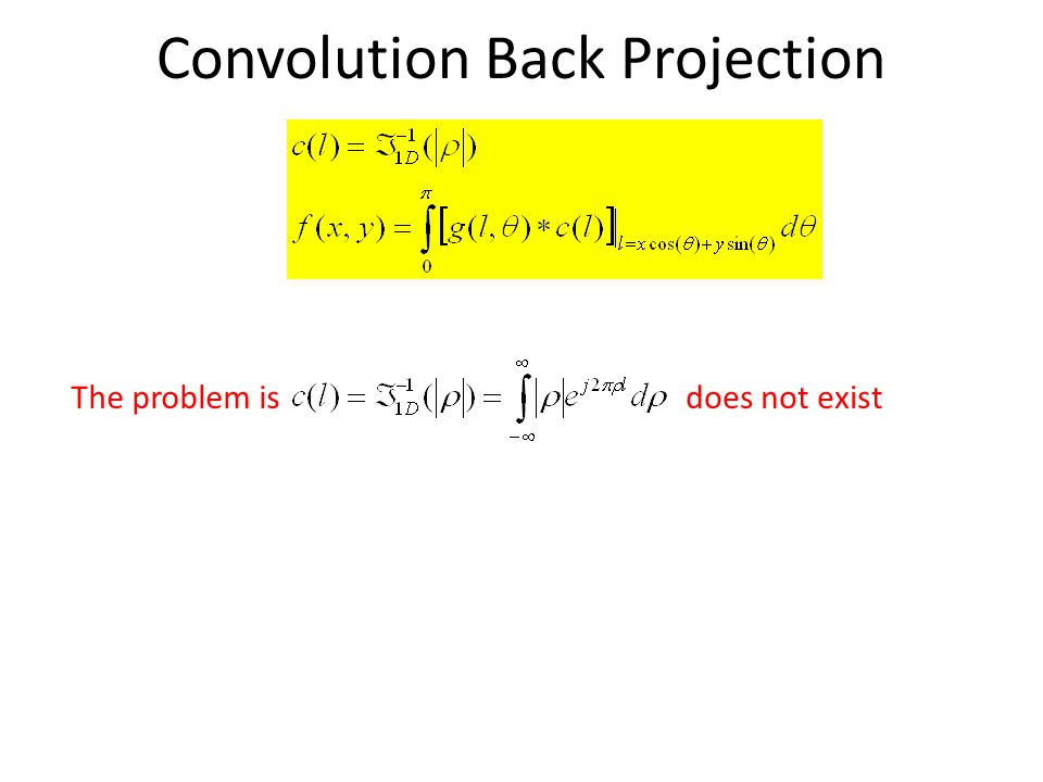 Convolution Back Projection The problem isdoes not exist