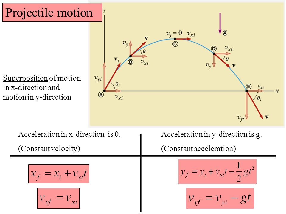 Acceleration in x-direction is 0. Acceleration in y-direction is g.