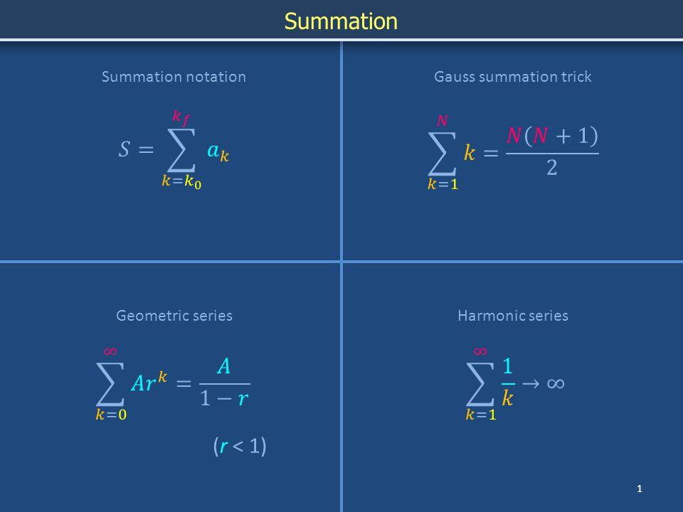 Summation 12 Summation notation Geometric seriesHarmonic series Gauss summation trick (r < 1)