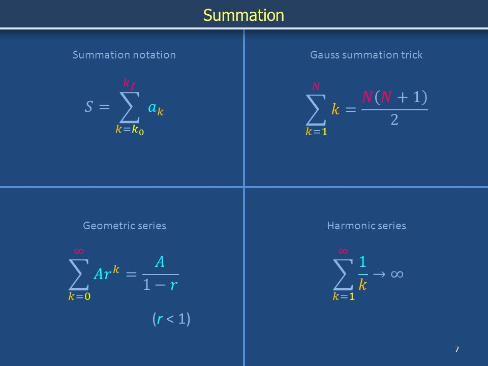 Summation 7 Summation notation Geometric seriesHarmonic series Gauss summation trick (r < 1)