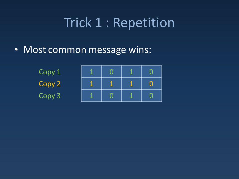 Trick 1 : Repetition Most common message wins: 1010 1110 1010 Copy 1 Copy 2 Copy 3