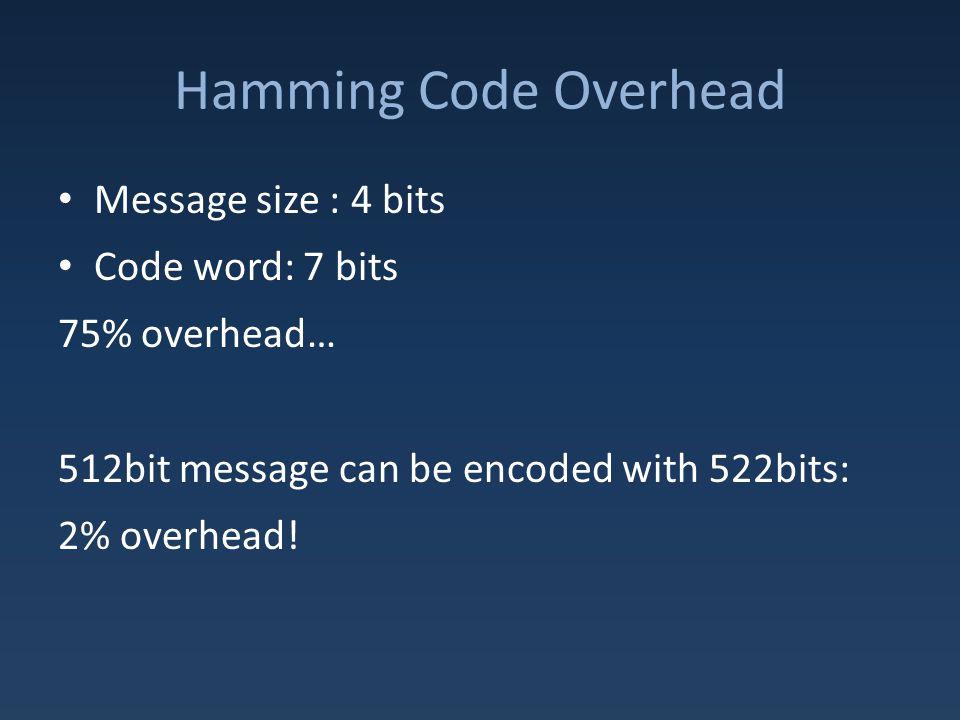 Hamming Code Overhead Message size : 4 bits Code word: 7 bits 75% overhead… 512bit message can be encoded with 522bits: 2% overhead!