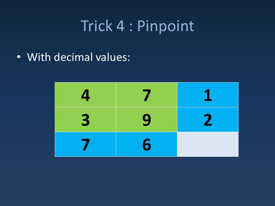 Trick 4 : Pinpoint With decimal values: 471 392 76