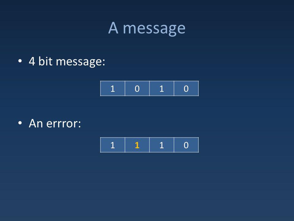 A message 4 bit message: An errror: 1010 1110