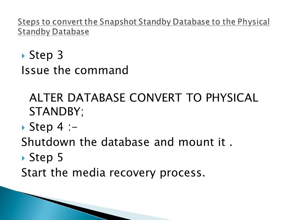  Step 3 Issue the command ALTER DATABASE CONVERT TO PHYSICAL STANDBY;  Step 4 :- Shutdown the database and mount it.