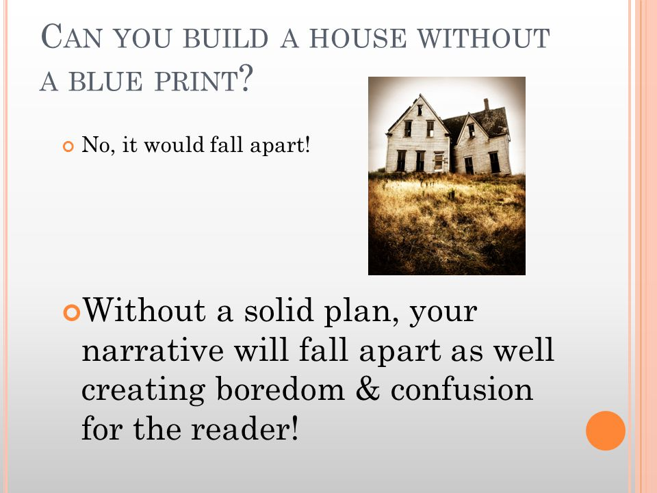 C AN YOU BUILD A HOUSE WITHOUT A BLUE PRINT . No, it would fall apart.