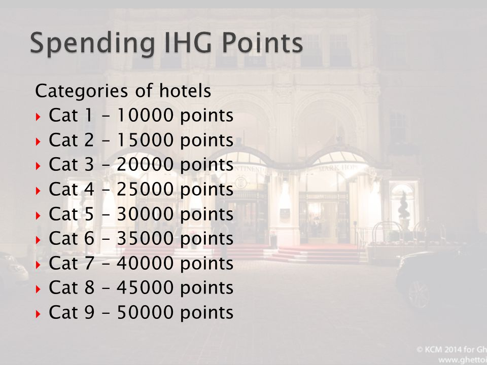 Categories of hotels  Cat 1 – 10000 points  Cat 2 – 15000 points  Cat 3 – 20000 points  Cat 4 – 25000 points  Cat 5 – 30000 points  Cat 6 – 35000 points  Cat 7 – 40000 points  Cat 8 – 45000 points  Cat 9 – 50000 points