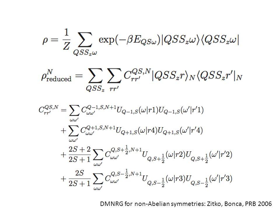 DMNRG for non-Abelian symmetries: Zitko, Bonca, PRB 2006