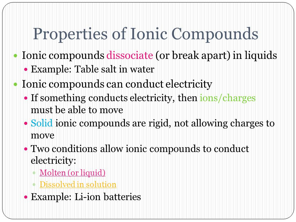 """Ionic Compounds Overview Bonds formed between a metal and a nonmetal Metals form positive ions called cations Trick to remember: """"ca+ion"""" Non-metals f"""