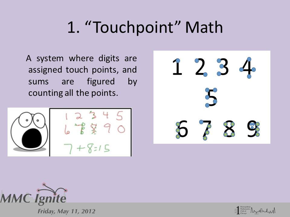 """1. """"Touchpoint"""" Math A system where digits are assigned touch points, and sums are figured by counting all the points."""