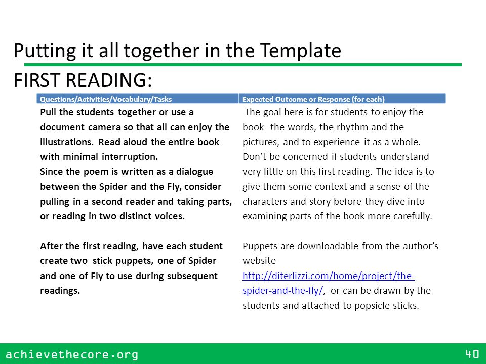 achievethecore.org 40 achievethecore.org 40 Putting it all together in the Template FIRST READING: Questions/Activities/Vocabulary/TasksExpected Outcome or Response (for each) Pull the students together or use a document camera so that all can enjoy the illustrations.