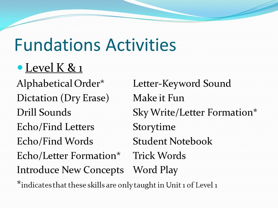 Fundations Activities Level 1 Dictation/Composition Book Echo/Find Sounds & Words Word of the Day Word Talk Vowel Extension*