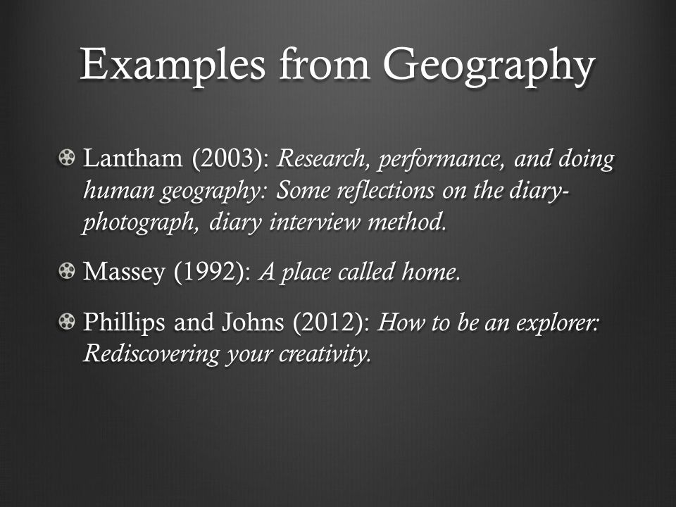 Examples from Geography Lantham (2003): Research, performance, and doing human geography: Some reflections on the diary- photograph, diary interview m