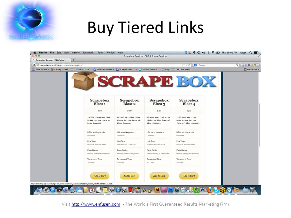 Buy Tiered Links Visit http://www.enfusen.com - The World s First Guaranteed Results Marketing Firmhttp://www.enfusen.com
