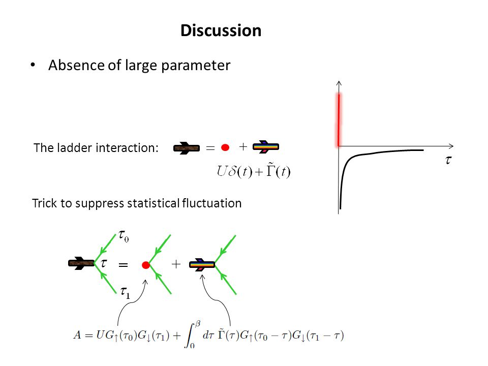 Discussion Absence of large parameter The ladder interaction: Trick to suppress statistical fluctuation