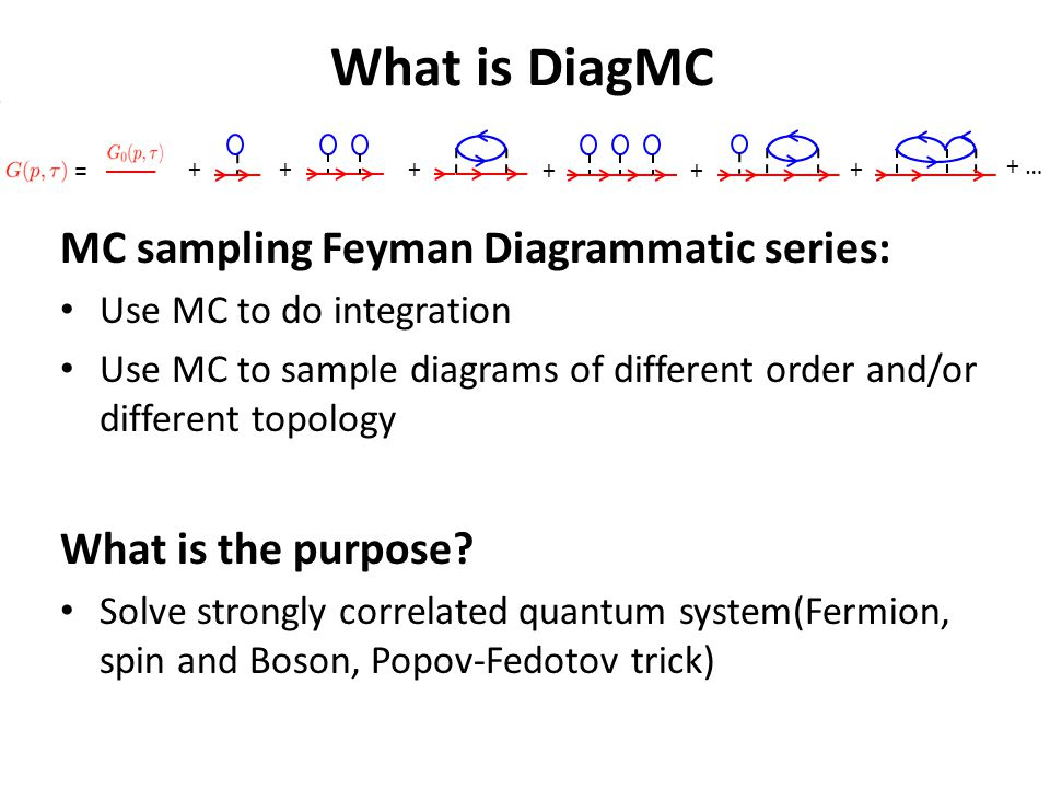 What is DiagMC MC sampling Feyman Diagrammatic series: Use MC to do integration Use MC to sample diagrams of different order and/or different topology What is the purpose.