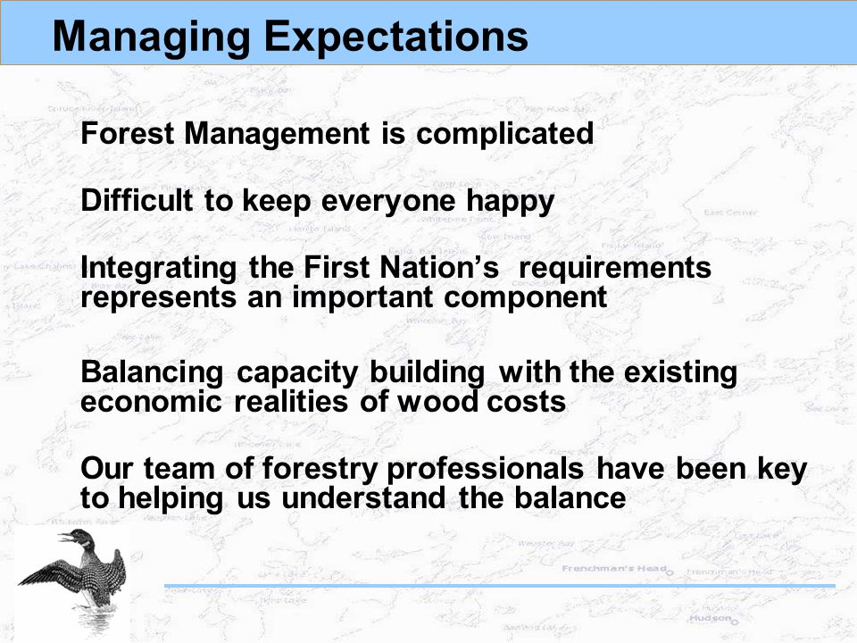 Managing Expectations Forest Management is complicated Difficult to keep everyone happy Integrating the First Nation's requirements represents an important component Balancing capacity building with the existing economic realities of wood costs Our team of forestry professionals have been key to helping us understand the balance