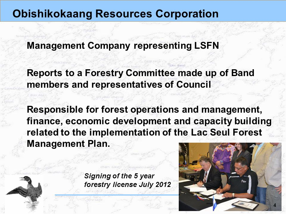Obishikokaang Resources Corporation Management Company representing LSFN Reports to a Forestry Committee made up of Band members and representatives of Council Responsible for forest operations and management, finance, economic development and capacity building related to the implementation of the Lac Seul Forest Management Plan.