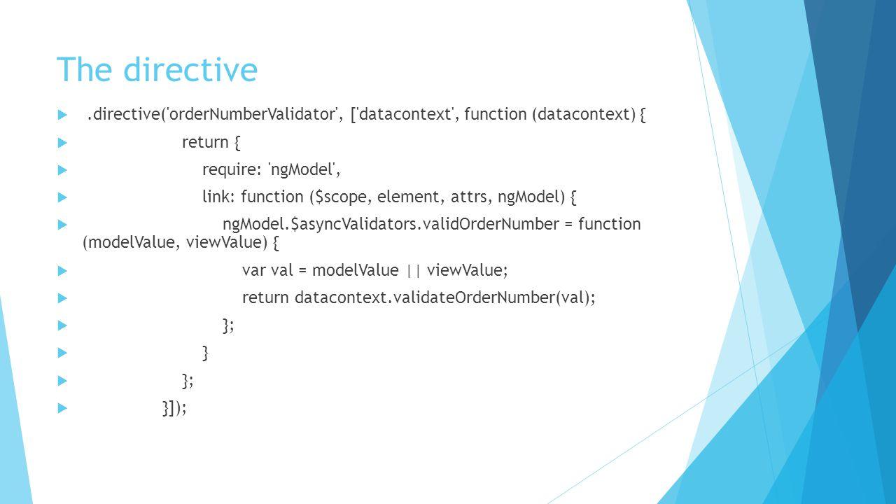 The directive .directive('orderNumberValidator', ['datacontext', function (datacontext) {  return {  require: 'ngModel',  link: function ($scope,