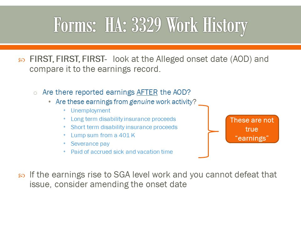  FIRST, FIRST, FIRST- look at the Alleged onset date (AOD) and compare it to the earnings record.