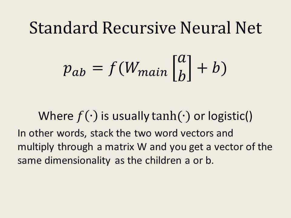 Standard Recursive Neural Net