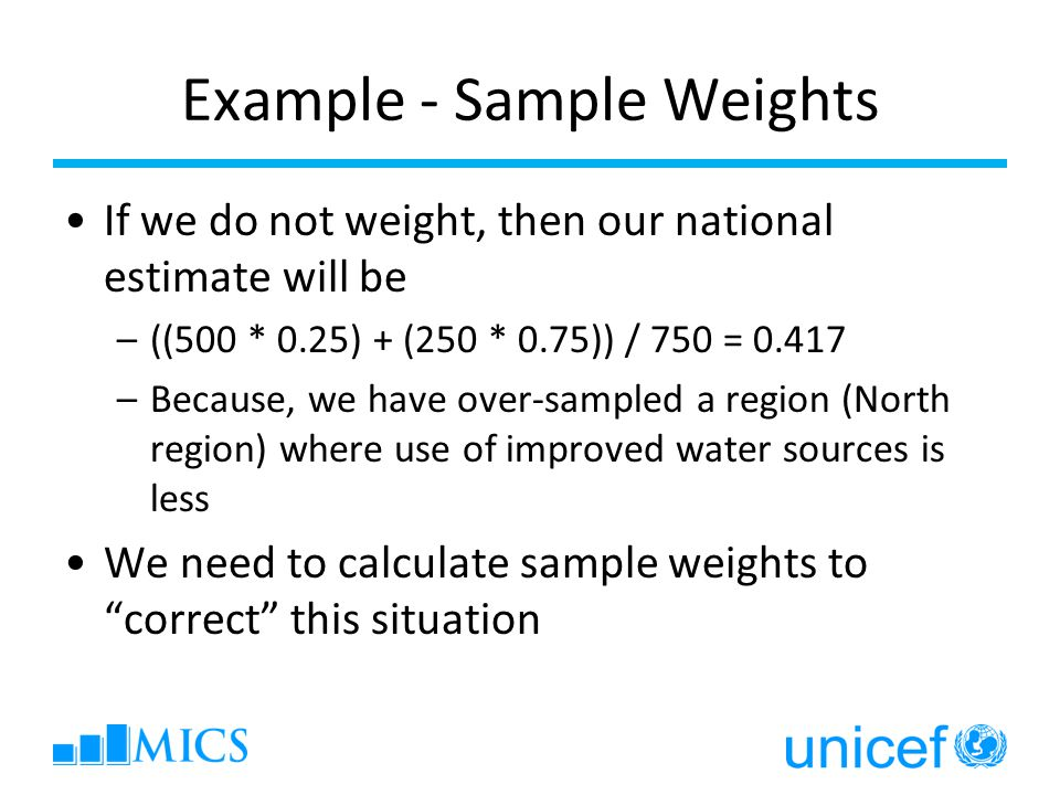 Example - Sample Weights If we do not weight, then our national estimate will be –((500 * 0.25) + (250 * 0.75)) / 750 = 0.417 –Because, we have over-s