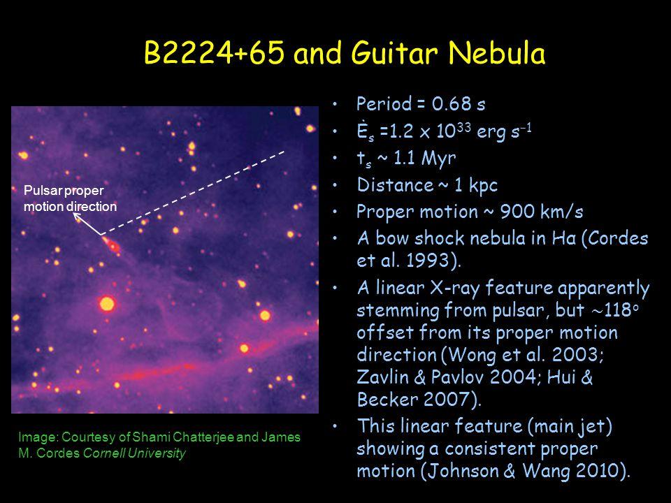 B2224+65 and Guitar Nebula Period = 0.68 s Ė s =1.2 x 10 33 erg s −1 t s ~ 1.1 Myr Distance ~ 1 kpc Proper motion ~ 900 km/s A bow shock nebula in Hα (Cordes et al.