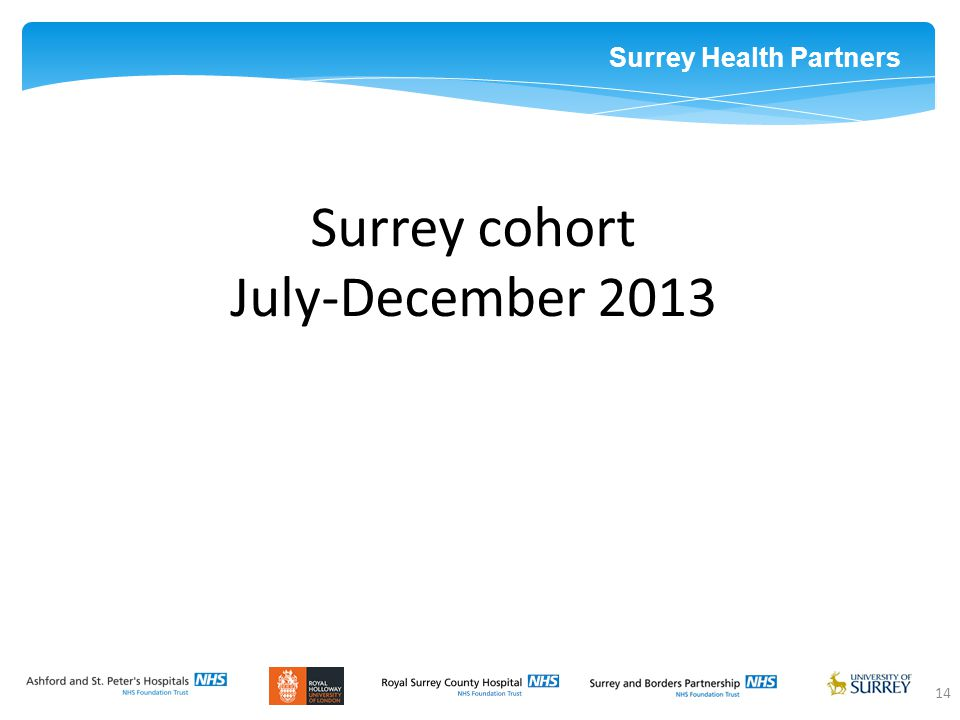 Surrey Health Partners 14 Surrey cohort July-December 2013