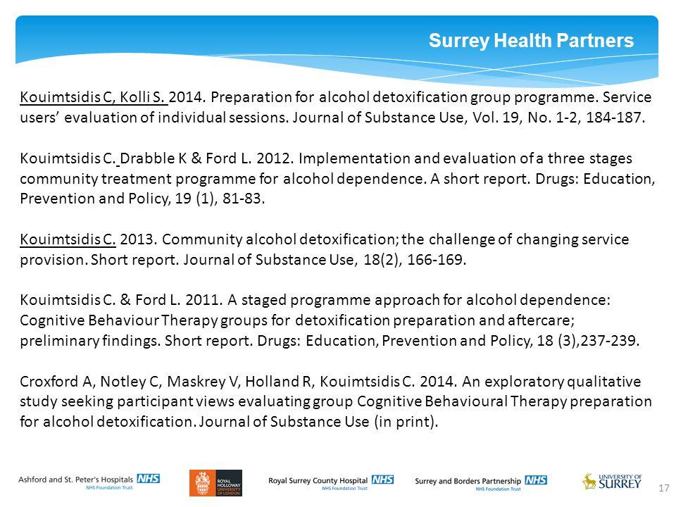 Surrey Health Partners 17 Kouimtsidis C, Kolli S. 2014.