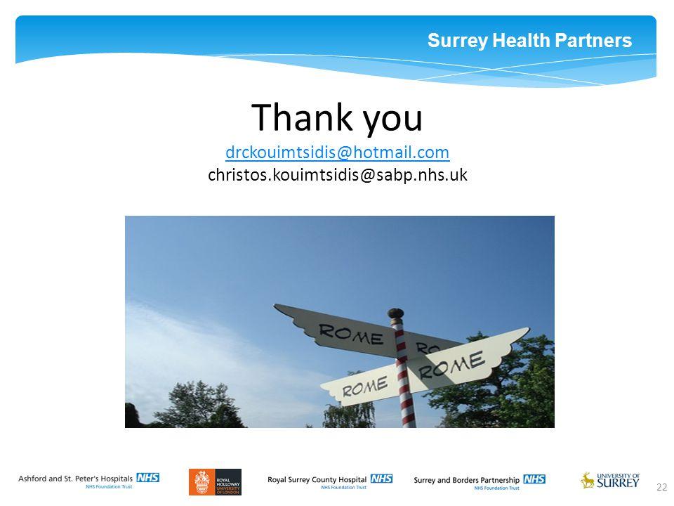 Surrey Health Partners 22 Thank you drckouimtsidis@hotmail.com christos.kouimtsidis@sabp.nhs.uk drckouimtsidis@hotmail.com