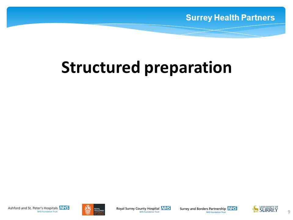 Surrey Health Partners 9 Structured preparation