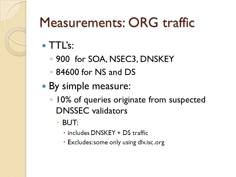 Measurements: ORG traffic TTL's: ◦ 900 for SOA, NSEC3, DNSKEY ◦ 84600 for NS and DS By simple measure: ◦ 10% of queries originate from suspected DNSSEC validators  BUT:  includes DNSKEY + DS traffic  Excludes: some only using dlv.isc.org