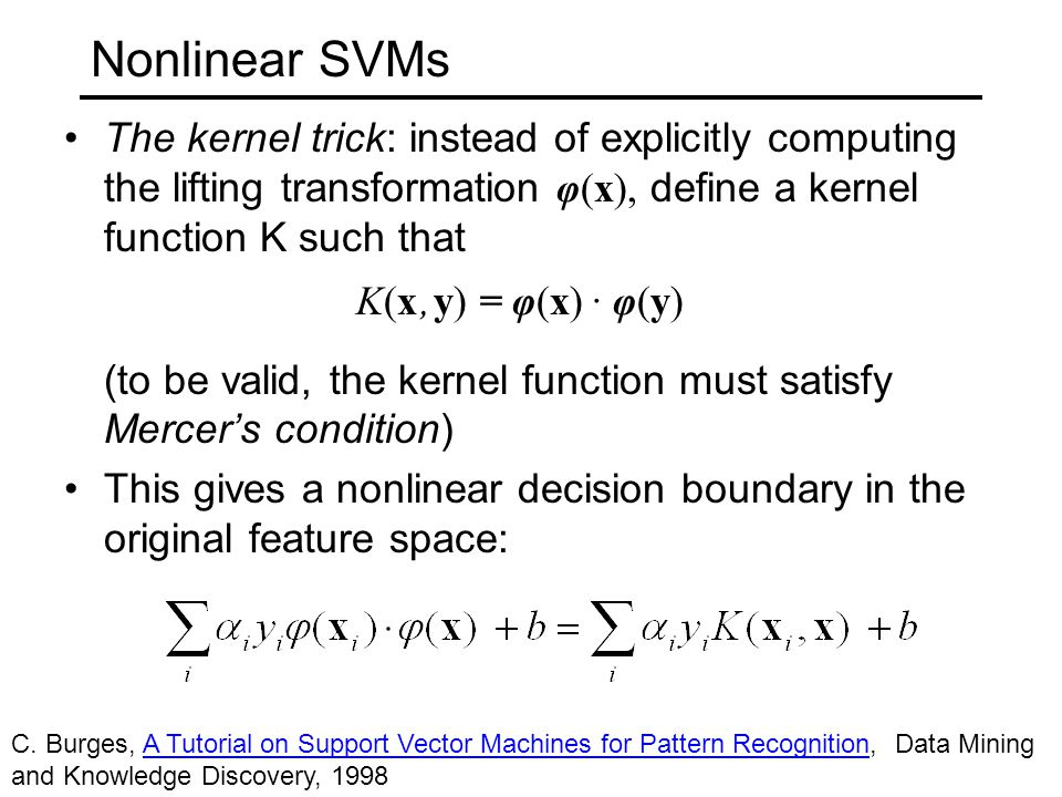 Nonlinear SVMs The kernel trick: instead of explicitly computing the lifting transformation φ(x), define a kernel function K such that K(x, y) = φ(x) · φ(y) (to be valid, the kernel function must satisfy Mercer's condition) This gives a nonlinear decision boundary in the original feature space: C.