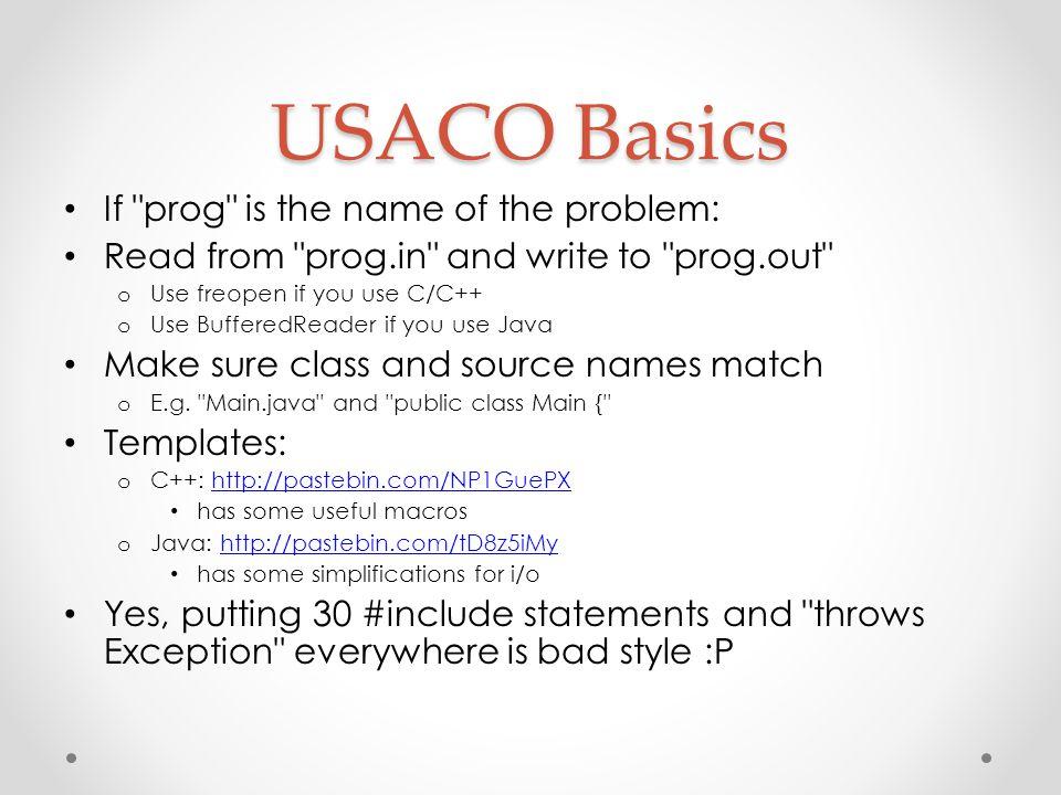 USACO Basics If