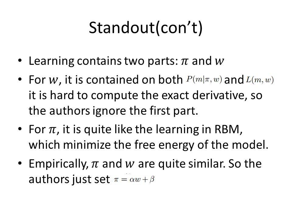 Standout(con't)