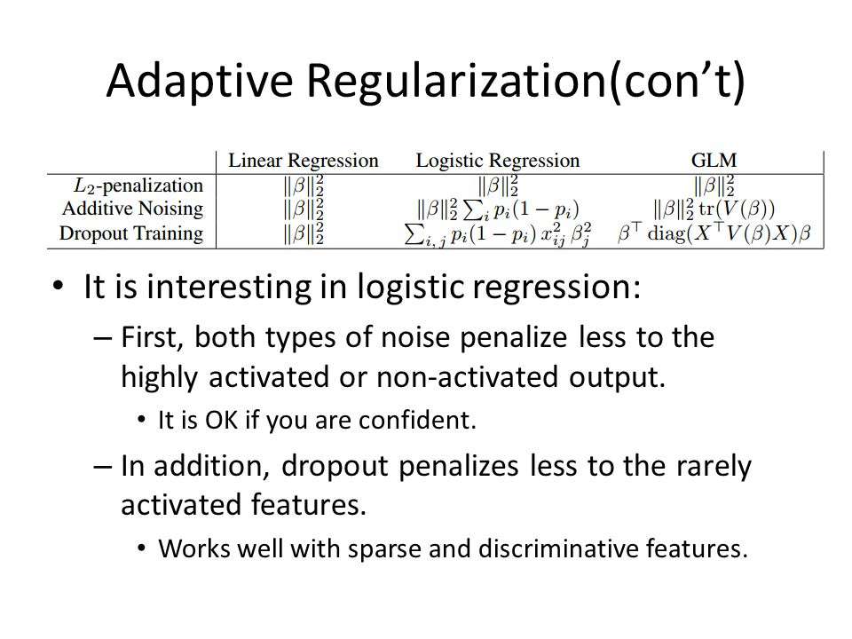 Adaptive Regularization(con't) It is interesting in logistic regression: – First, both types of noise penalize less to the highly activated or non-act