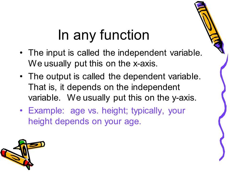 In any function The input is called the independent variable.