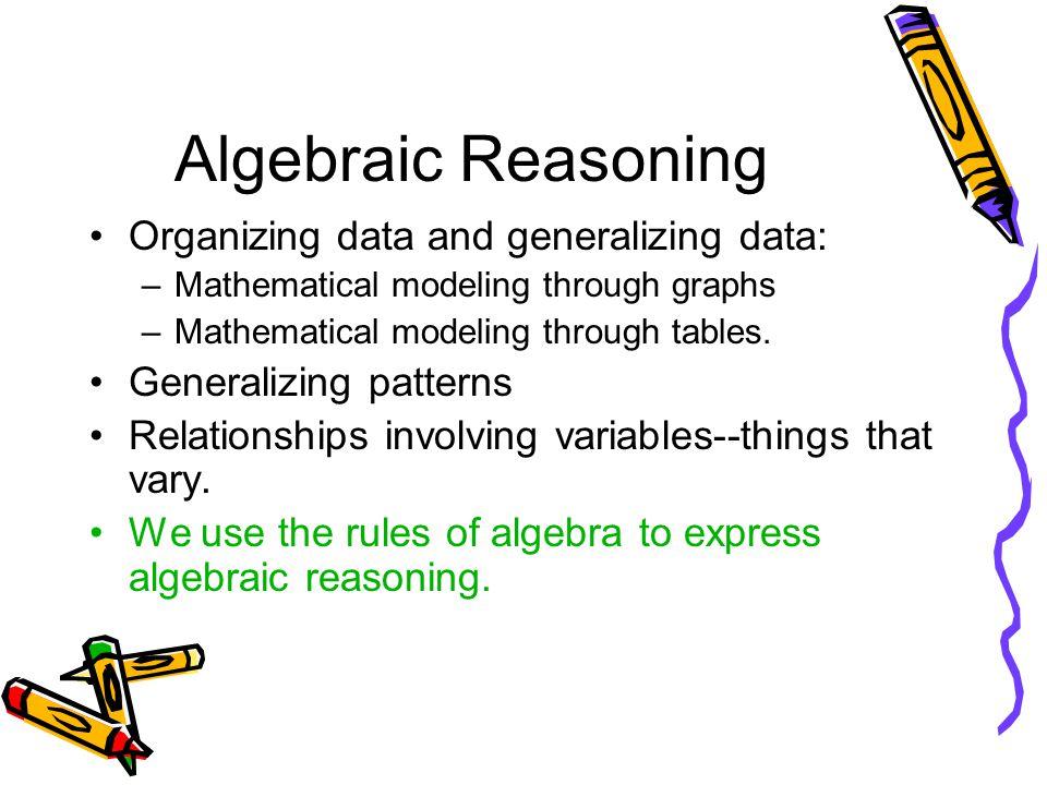 Algebraic Reasoning Organizing data and generalizing data: –Mathematical modeling through graphs –Mathematical modeling through tables.