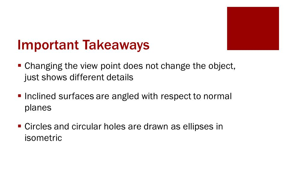Important Takeaways  Changing the view point does not change the object, just shows different details  Inclined surfaces are angled with respect to