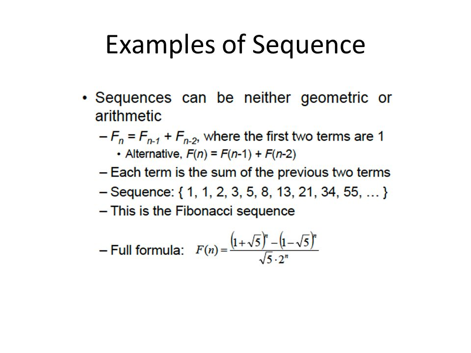 Examples of Sequence