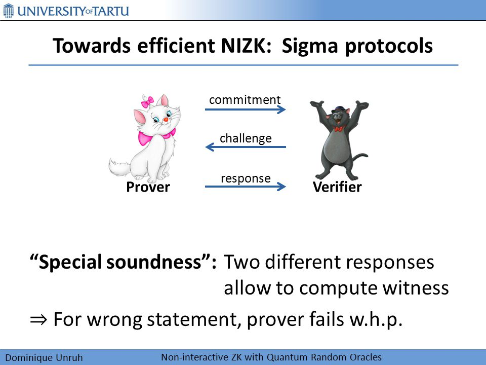 "Dominique Unruh Towards efficient NIZK: Sigma protocols Non-interactive ZK with Quantum Random Oracles commitment challenge response Prover ""Special s"