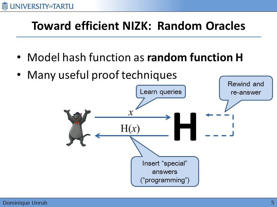 Dominique Unruh Toward efficient NIZK: Random Oracles Model hash function as random function H Many useful proof techniques 5 H x H(x) Learn queries I