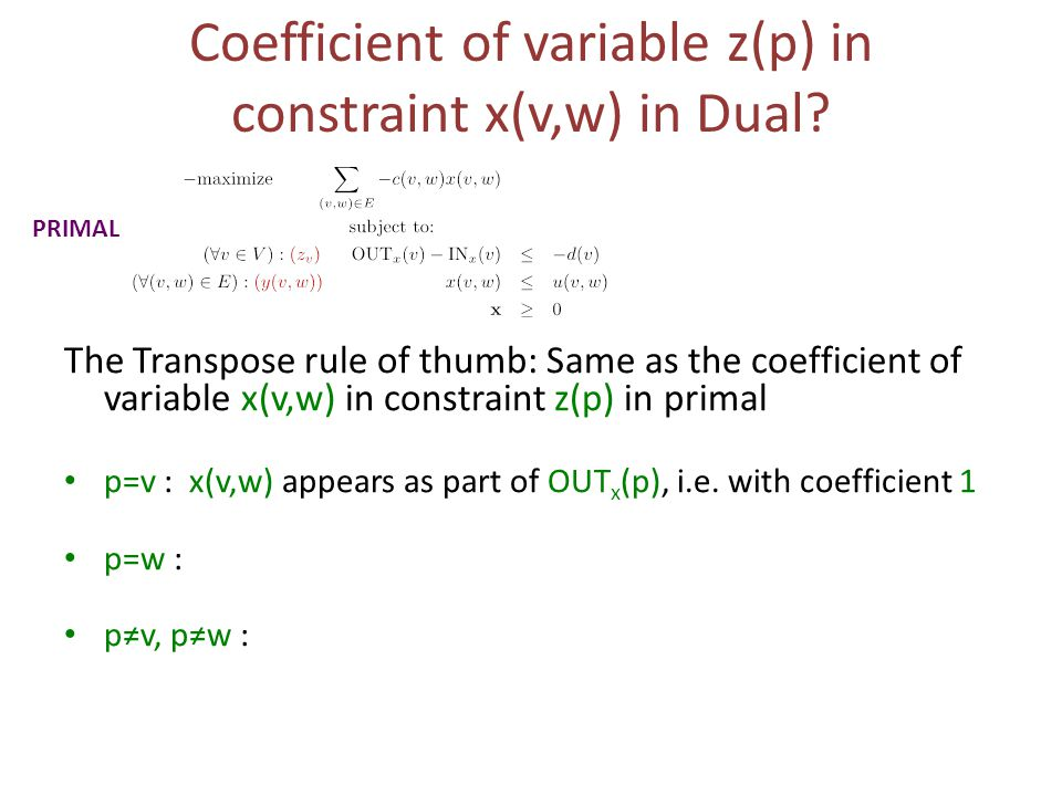 Coefficient of variable z(p) in constraint x(v,w) in Dual.