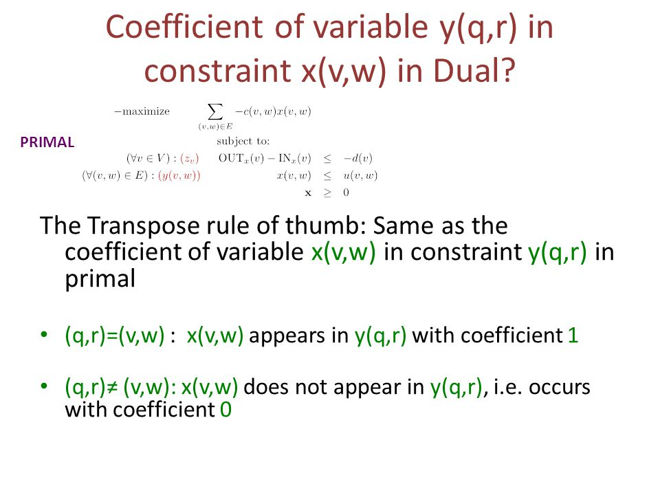 Coefficient of variable y(q,r) in constraint x(v,w) in Dual.