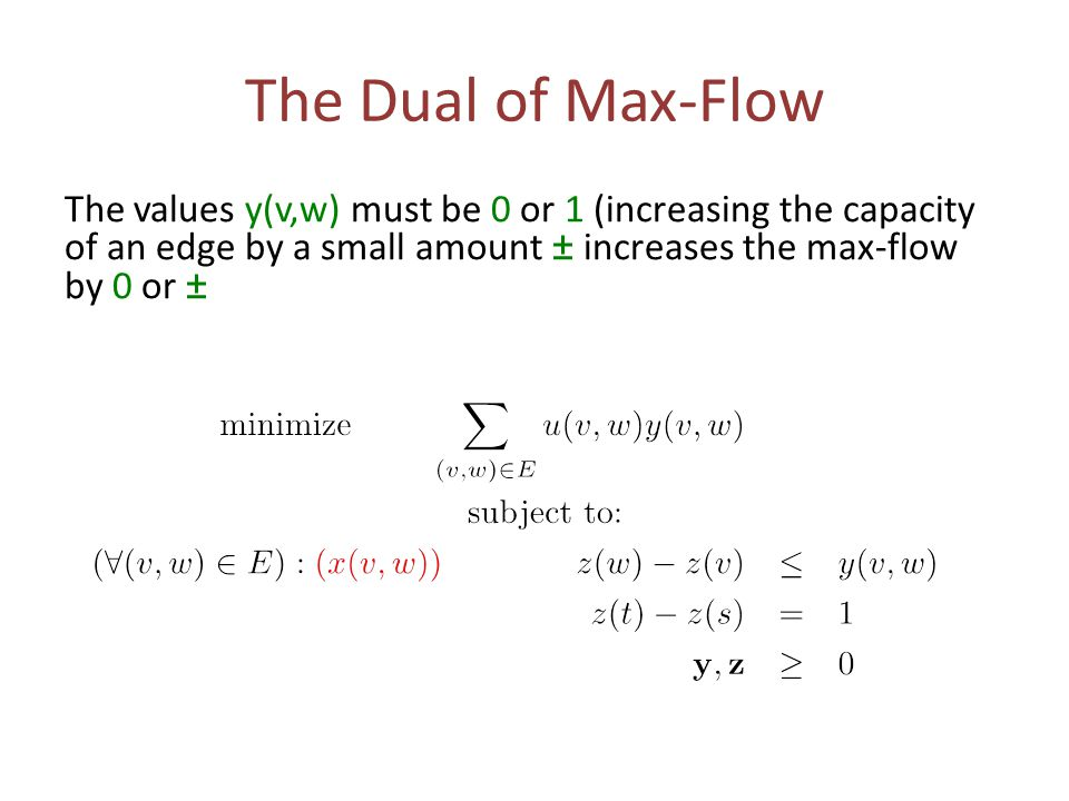 The Dual of Max-Flow The values y(v,w) must be 0 or 1 (increasing the capacity of an edge by a small amount ± increases the max-flow by 0 or ±