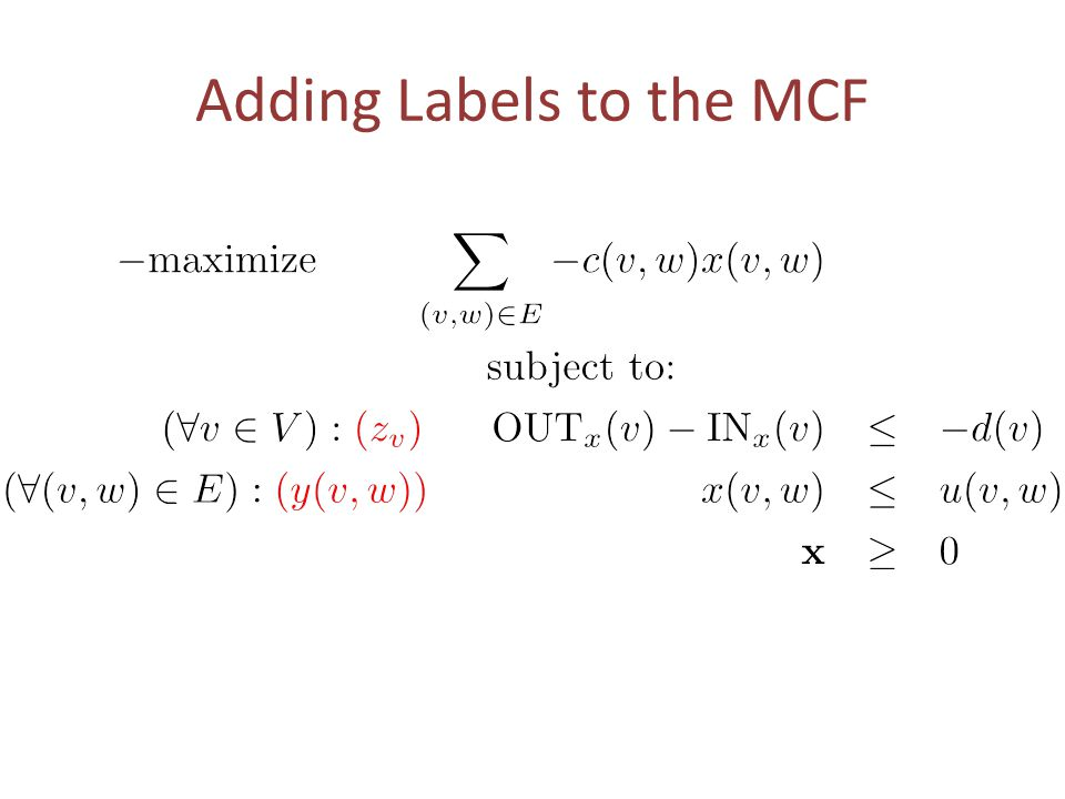 Adding Labels to the MCF