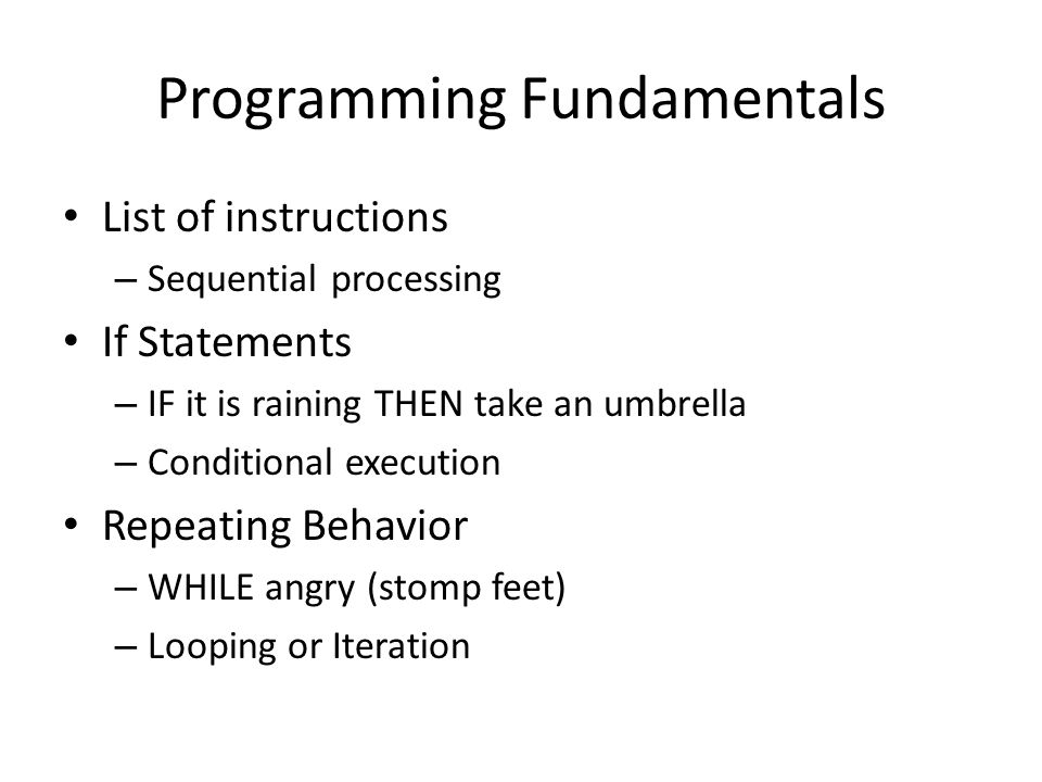 Programming Fundamentals List of instructions – Sequential processing If Statements – IF it is raining THEN take an umbrella – Conditional execution R