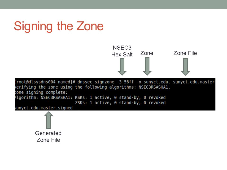 Signing the Zone NSEC3 Hex Salt ZoneZone File Generated Zone File